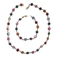 Beautiful Italian Sterling Multi Color Bezel set Crystal Necklace & Bracelet Set