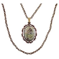 Victorian Revival Painted Flowers Oval Ceramic Pendant on Double Chain