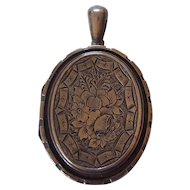 Large Victorian Oval Silver Floral Locket