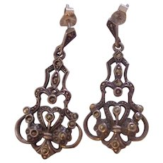 Beautiful Sterling Silver & Marcasite Art Deco Style Hanging Earrings