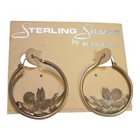 Sterling Silver Cupid Hoop Earrings Vintage still on card