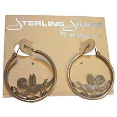 Sterling Silver Cupid Hoop Earrings Vintage still on card