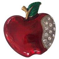 Wonderful Red Apple w/ Rhinestones Brooch
