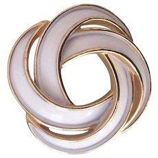 Trifari White Enamel Gold tone Knot Brooch
