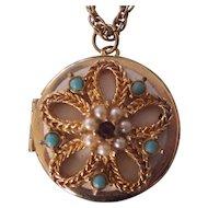 Vintage Pendant Locket Necklace Faux Pearl & Turquoise