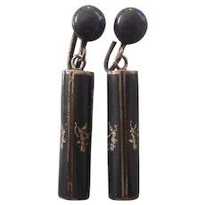 Vintage Sterling Niello Siam Tube Earrings