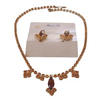 Vintage Topaz Amber Crystal Rhinestone Necklace Earrings Set