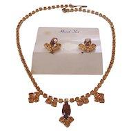 Vintage Topaz Amber Crystal Rhinestone Necklace Earrings Set