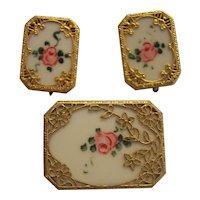 Vintage Painted Roses Gold tone Filigree Deco Pin Earrings Set