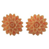 Celluloid Flower Earrings Pale Apricot or Salmon
