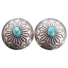 Turquoise Concho Southwestern Style Silver Earrings
