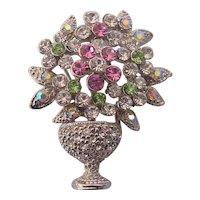 Basket Urn of Flowers Pastel Rhinestones Brooch Silver tone