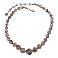Laguna AB Crystals Choker & Earrings Set Aurora- Borealis Necklace and Screw ons