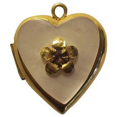 Tiny Vintage GF Heart Locket Charm Gold Filled Baby Doll Mother of Pearl