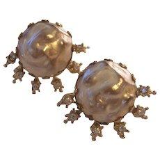 Vintage Coro Faux Baroque Pearls Earrings Rhinestones Star Burst Gold tone