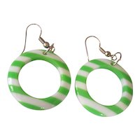 Fun Green & White Lucite Hoop Earrings