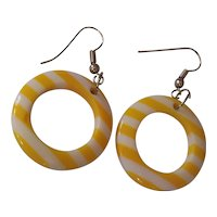 Fun Yellow & White Lucite Striped Hoop Earrings