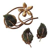 Wells 14 K GF Jade & Cultured Pearl Leaf & Flower Brooch Earrings Set