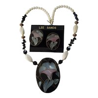Great Lee Sands Abalone Inlaid Set Necklace Earrings Floral on Lucite