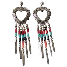 Sterling Silver Southwestern Heart Concho Dangling Earrings Q.T.