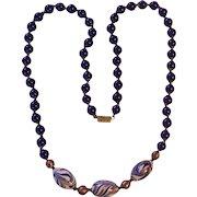 Gorgeous Cobalt Blue Gold Swirl Italian Glass Beaded Necklace