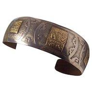 Peruvian 18K Gold 925 Sterling Silver Cuff Bracelet Peru