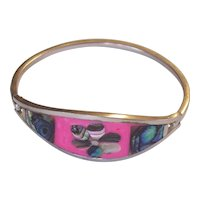 Colorful Mexican Abalone Alpaca Silver Hinged Bangle Bracelet