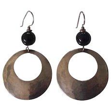 Vintage Hammered Sterling Signed Hoop Earrings