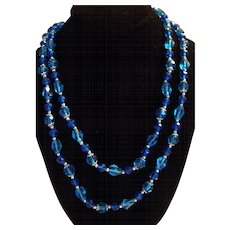 Vintage Sea Blues Long Beaded Necklace with Silver tone