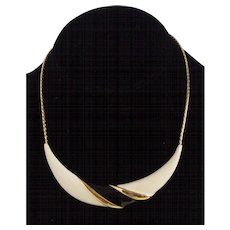 Mod Black Cream Enamel Gold tone Necklace Monet
