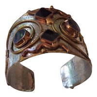 Wonderful Vintage Artisan Modernist Cuff Bracelet Mixed Metals Black Stones