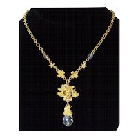 Kirk's Folly Cherub Crystal Gold tone Pendant Necklace