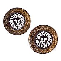 Anne Klein Lion Earrings Gold + Silver tone