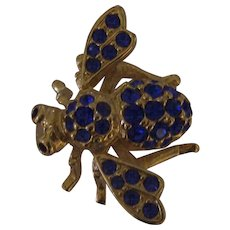 Joan Rivers Blue Rhinestone Bumble Bee Gold tone Insect Brooch
