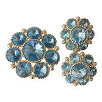 Beautiful Blue Rivoli Brooch and Earrings Set