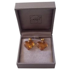 Lalique France Amber Crystal Glass Heart Couer Earrings w/ Box
