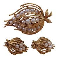 Lisner Faux Pearl Gold tone Brooch Earrings Set