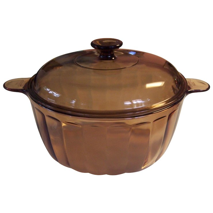 Corning Sculptured Visions 4 5l 5q Dutch Oven Covered Pot Amber