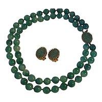 Joseph Mazer Jomaz Faux Jade Necklace Earrings Set Green Peking Glass
