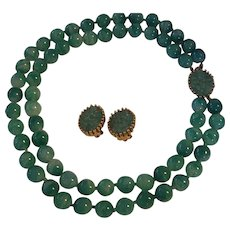 Joseph Mazer Jomaz Faux Jade Necklace Earrings Set Green Peking Glass