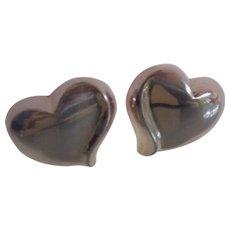 Sculptural Modernist Sterling Heart Earrings Jondell Spain