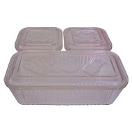Federal Glass Vegetables Refrigerator Leftovers Dish Box Set
