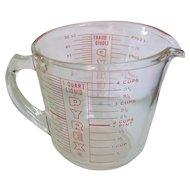 Vintage Pyrex 4C 1Q, D- Handle Measuring Cup Red Print