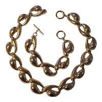 Bold Gold tone Necklace & Bracelet Set