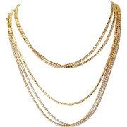 Vintage Multi Chain Gold tone Necklace Designer Quality
