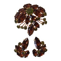 Castlecliff Autumn Colors Brooch and Earrings Rhinestones Set in Gold tone