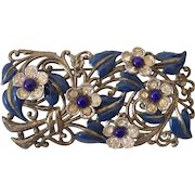 Cobalt Blue Enamel and Cabochon Flowers and Leaves Brooch NE New England Glass Works Silver tone