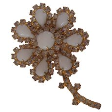 Large Milk Glass Flower Brooch Encrusted with Sparkling Rhinestones in Gold tone