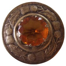 Vintage Scottish Thistle Plaid or Kilt Pin with Glass Citrine Made in Great Britain Silver tone