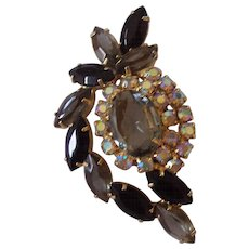 Lovely Juliana D & E Black Diamond & AB Brooch in Gold tone